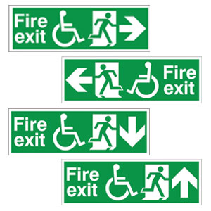 Disabled Fire Exit Signs