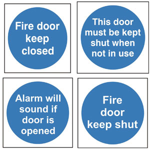 Standby Fire Protection 187 Fire Door Signs Blue