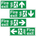 Flame Pictorial Directional Fire Exit Signs